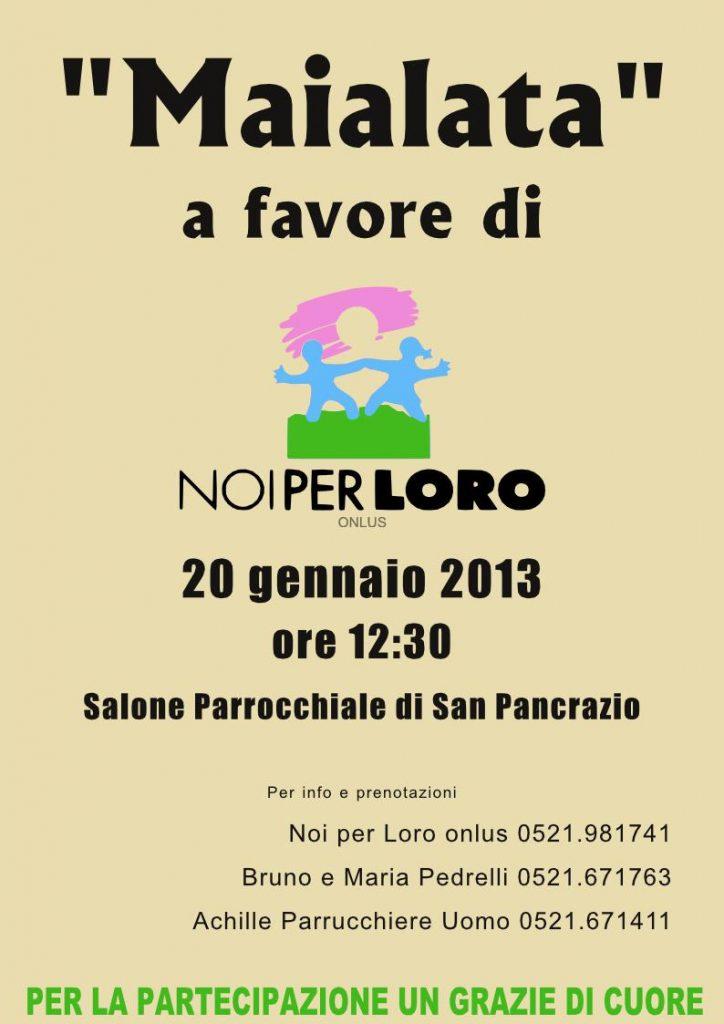 Pranzo solidale a San Pancrazio il 20 gennaio 2012