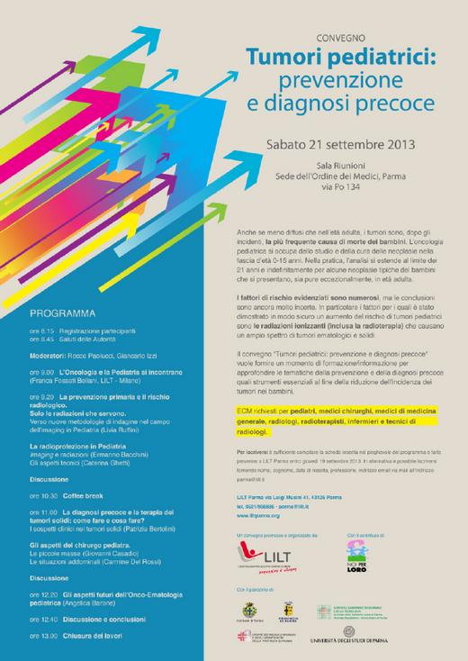 """Convegno """"Tumori pediatrici: prevenzione e diagnosi precoci"""" di LILT"""