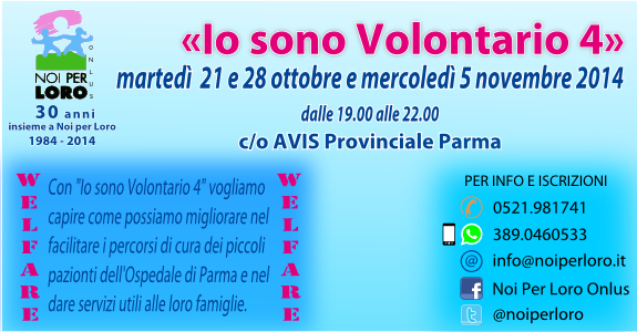 Io sono Volontario 4 corso Volontariato di Noi per Loro onlus Parma