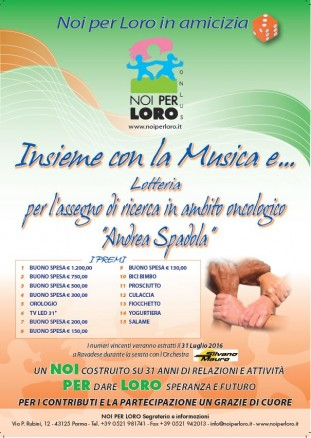 Locandina Lotteria solidale INSIEME CON LA MUSICA E 2016