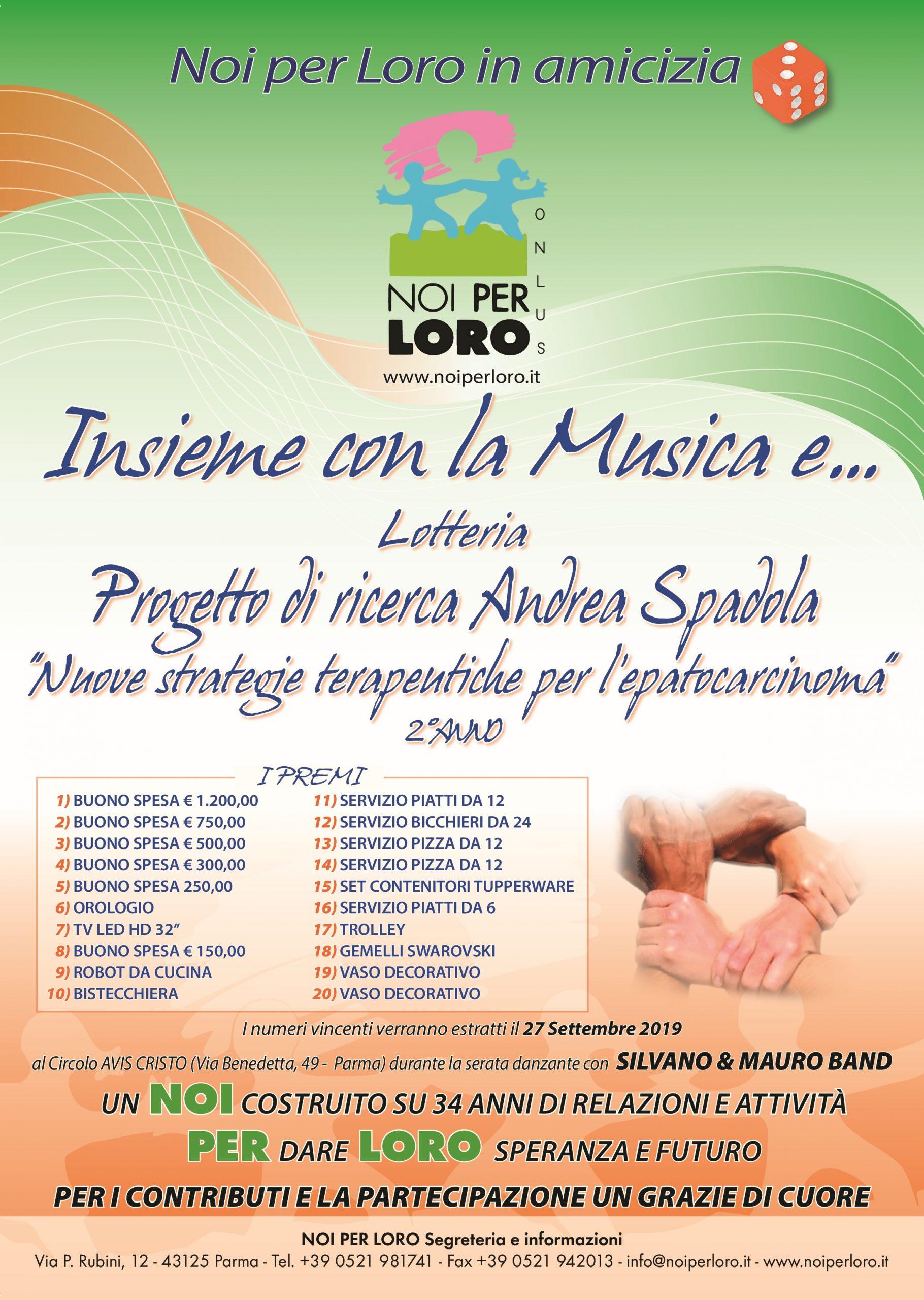 Locandina lotteria solidale 2019 Noi per Loro Parma