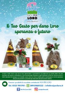 Locandina campagna raccolta fondi solidale Natale 2020 di Noi per Loro odv Parma