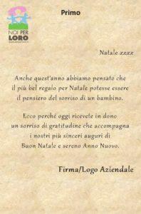 NATALE Testi Biglietti Solidali Noi per Loro odv Parma - Testo primo
