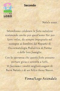 NATALE Testi Biglietti Solidali Noi per Loro odv Parma - Testo Secondo